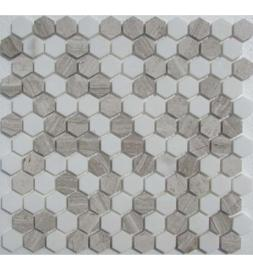 Мозаика Hexagon White-Grey
